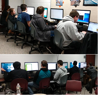 Cyber Patriot students competing on computers