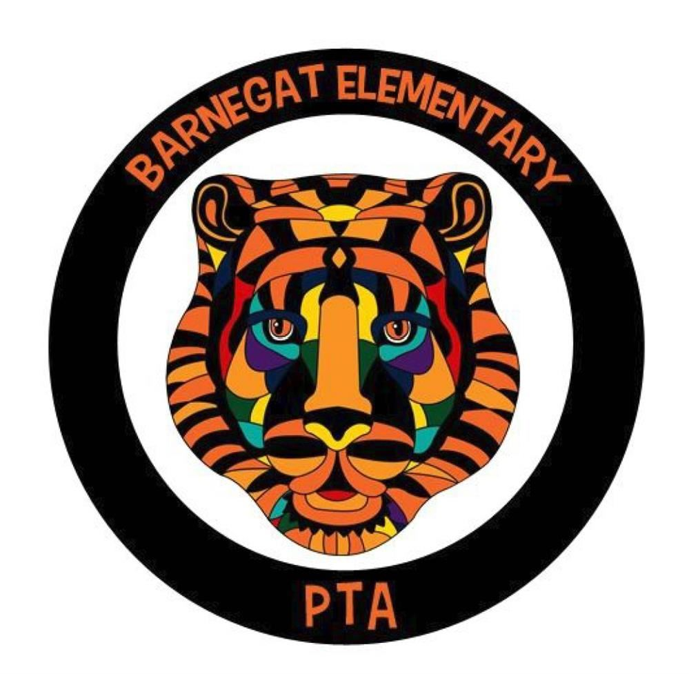 Barnegat Elementary PTA Logo with MultiColored Tiger Face