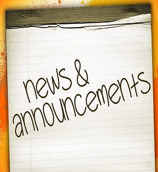 notepad with the words news and announcements